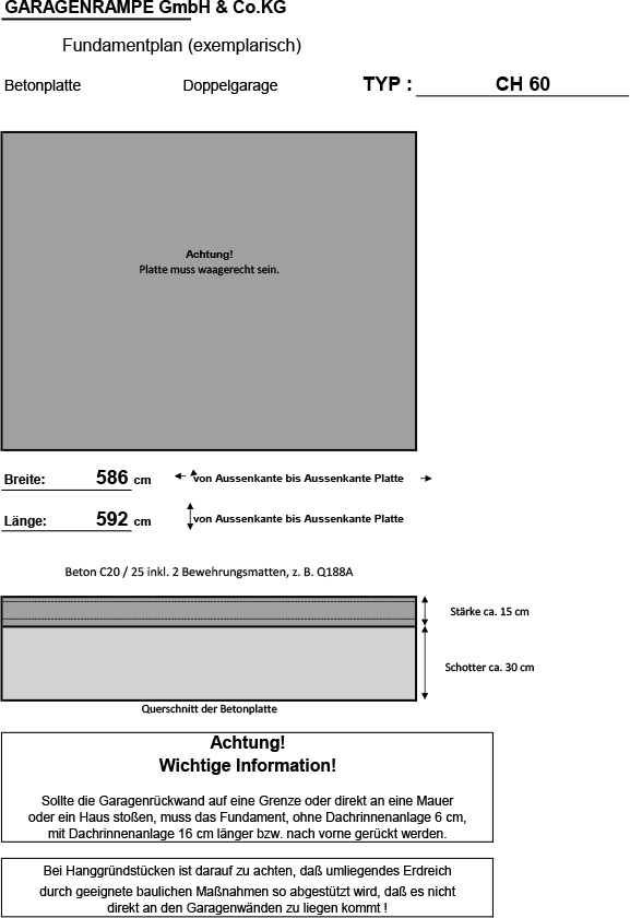 Doppelgarage mit Betonplatte